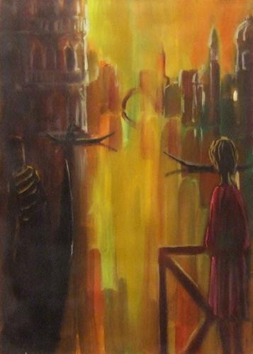 Quadro di  Copie d'Autore Venezia al tramonto (Eliano Fantuzzi) - olio tela